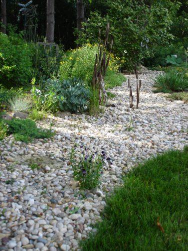 dry creek bed, garden, rocks